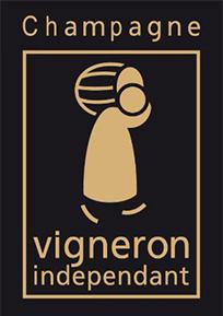 """Das Bild zeigt das regionale Logo der französischen Weinbau-Handelsorganisation, die unter der Bezeichnung """"vignerons indépendants - Champagne"""" bekannt ist."""