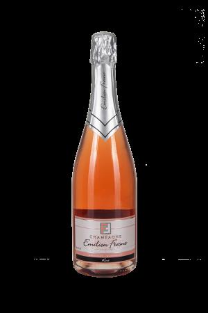 Das Bild zeigt die Flasche Champagne AOC Brut Emilien Fresne Rosé d´Assemblage