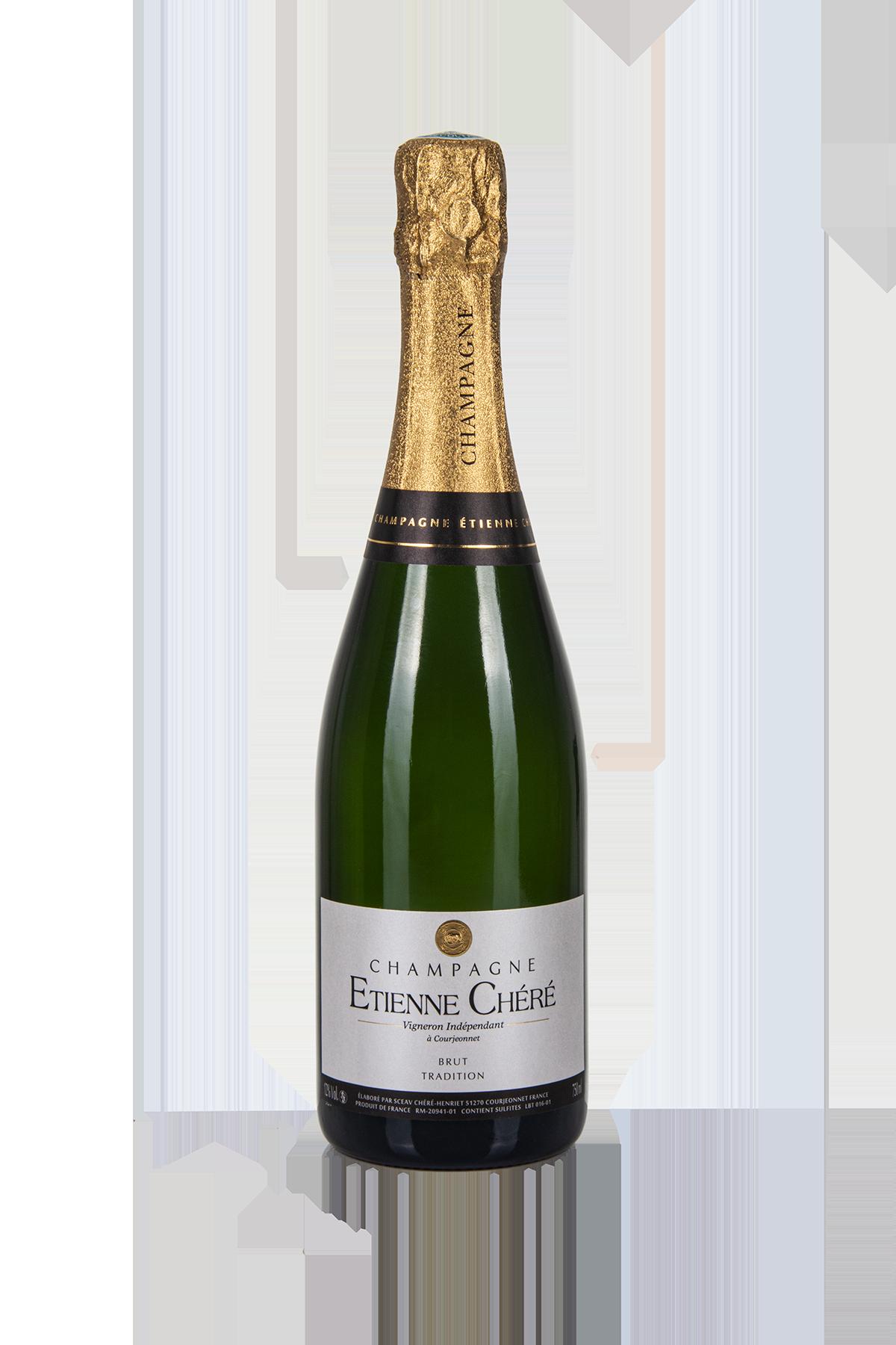 Das Bild zeigt die Flasche Champagne AOC Brut Etienne Chéré cuvée Tradition