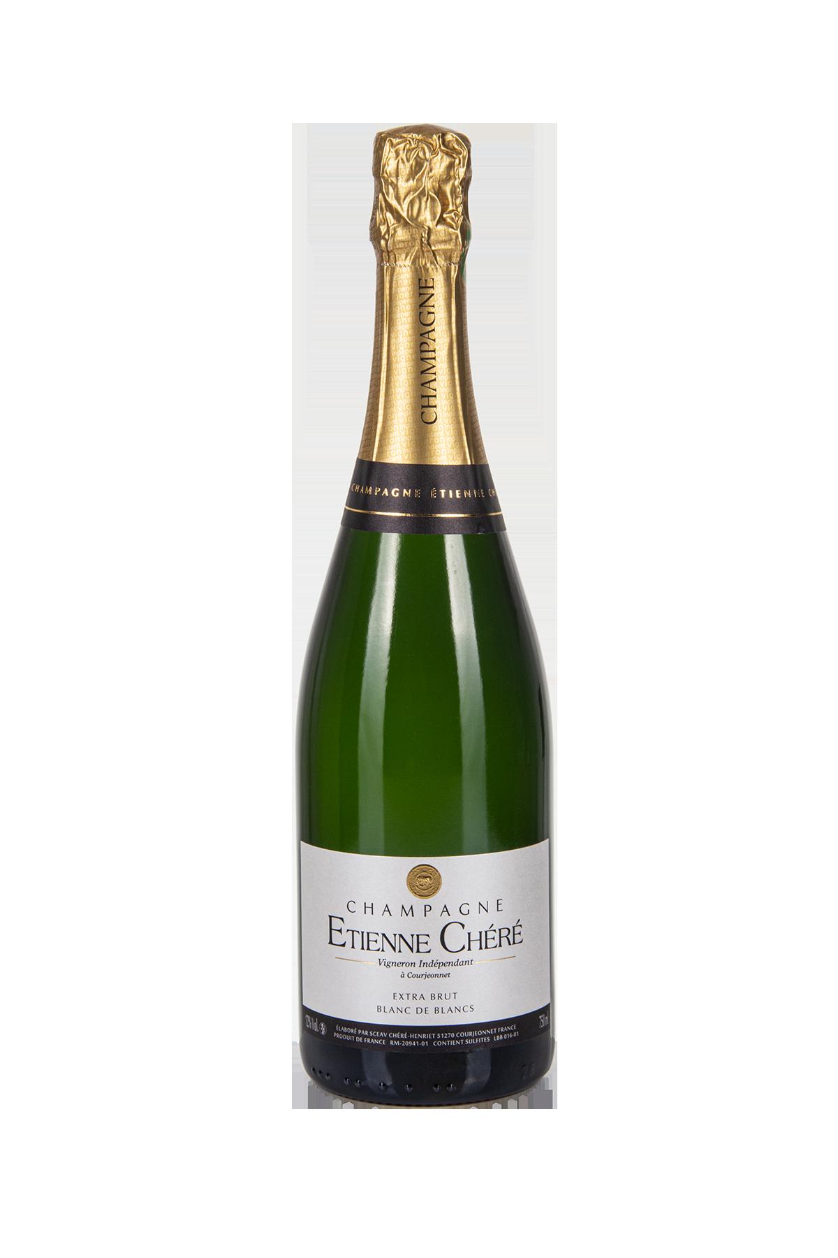 Das Bild zeigt die Flasche Champagne AOC Extra Brut Blanc de Blancs Etienne Chéré