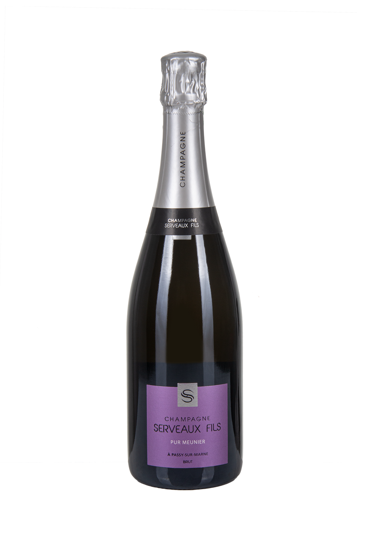 Das Bild zeigt die Flasche Champagne AOC Brut Serveaux Fils- Cuvée Pur Meunier