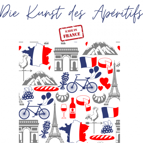 Das Bild zeigt die Kunst des Apéritifs- verschiedene Symbole für Frankreich