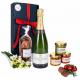 """Das Bild zeigt unsere Frenchy Box """"Veggie"""" mit Champagne AOP und weiteren Brotaufstriche"""