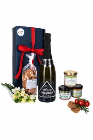 Das Bild zeigt unsere Frenchy Box mit WinzerCrémant Brut Loire AOP und weiteren Brotaufstriche