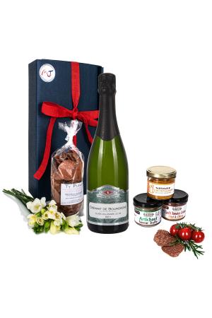 Das Bild zeigt unsere Frenchy Box Veggie mit Crémant Brut Bourgogne AOP und weiteren vegetarische Brotaufstriche
