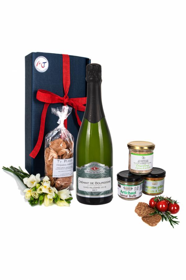 Das Bild zeigt unsere Frenchy Box Veggie mit Crémant Brut Bourgogne AOP und weiteren Brotaufstriche